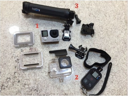 câmera digital gopro hero 4 silver e acessórios