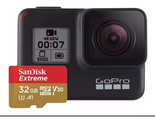 câmera digital gopro hero 7 black 12mp 4k+ sd 32gb extreme