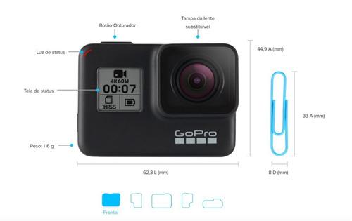 câmera digital gopro hero 7 black top 12mp 4k live steaming