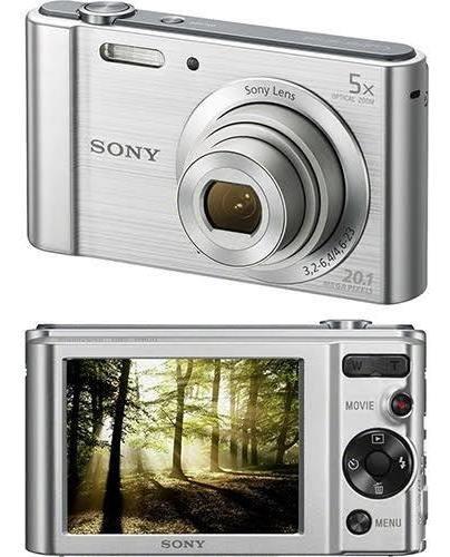 câmera digital sony w800 20.1mp 5x preta e prata