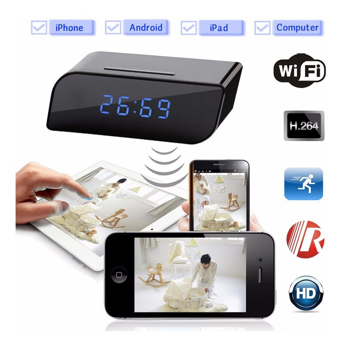 Caméra miniature Wifi Point to Point surveillance Android iPhone 8 Go