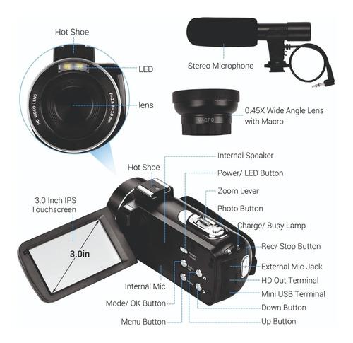 câmera filmadora digital semi profissional 4k  com microfone