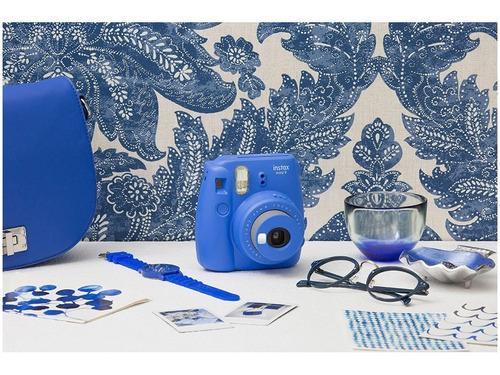 câmera fotográfica fujifilm instax mini 9 azul cobalto