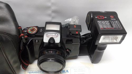 câmera fotográfica yashica trip 35 a com flash e bolsa japan