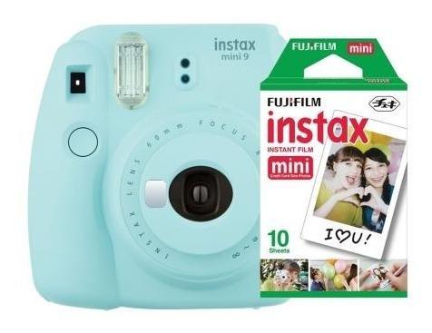 câmera fujifilm instax mini 9 azul aqua + filme 10 poses