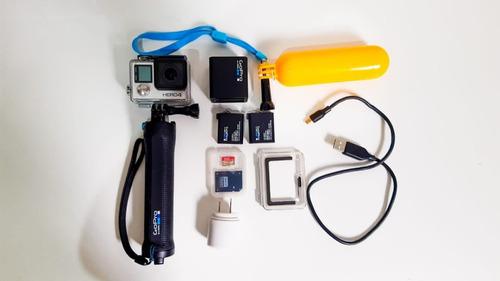 câmera gopro hero 4 black mais cartão 32 gb e acessórios