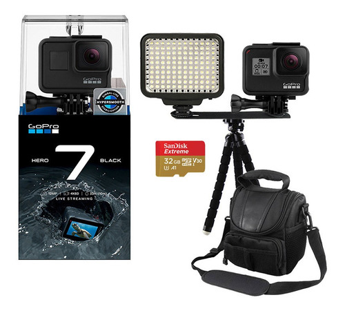câmera gopro hero 7 black 4k + led + mini tripé e bolsa