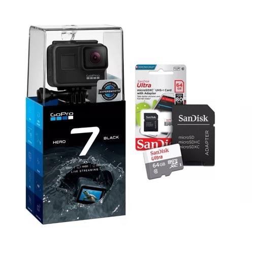 câmera gopro hero7 black 12mp + cartão 64gb classe 10 + case