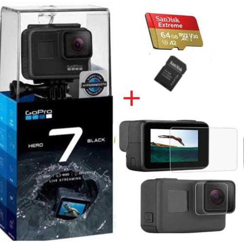 câmera gopro hero7 black + extreme 64gb + pelicula protetora