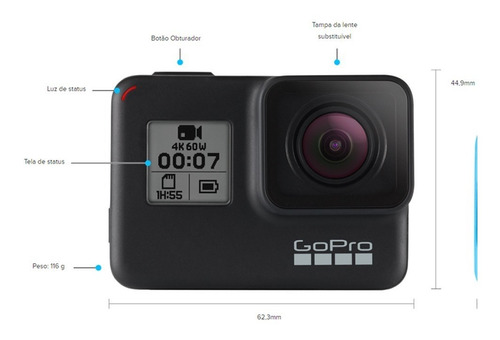 câmera gopro hero7 black oficial br + cartão sandisk extreme