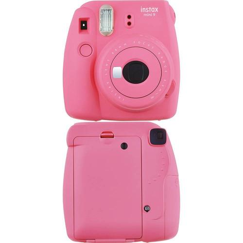 câmera instantânea fuji instax mini 9 rosa flamingo+20filmes