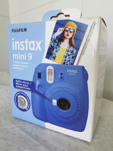 câmera instantânea fujifilm mini instax 9 - azul (nova)