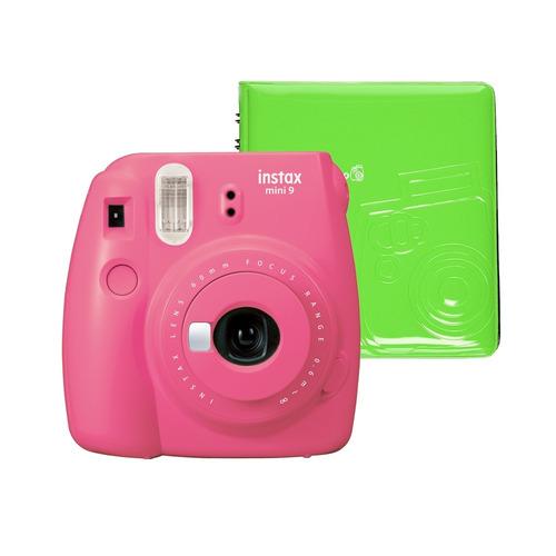 câmera instantânea instax fujifilm mini 9 flamingo + album