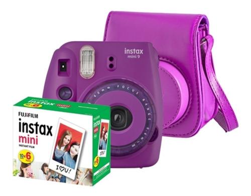câmera instantânea instax mini 9 roxo bolsa pack 60 fotos