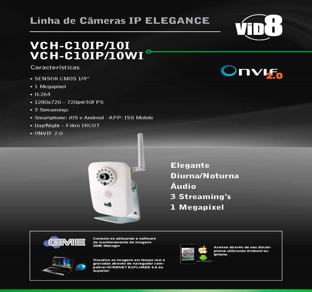 Câmera Ip Cabo Alta Resolução C/ Áudio Ir Celular Onvif 2 0
