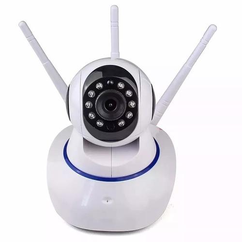 câmera ip hd 720 sem fio wi-fi p2p cartão sd audio 3 antenas