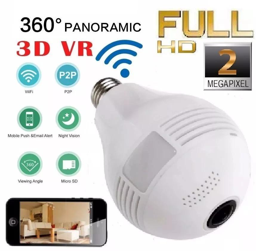 3ba56cc808e0d Câmera Ip Lampada Espiã Panorâmica V380 Night Visão Noturna - R  155 ...