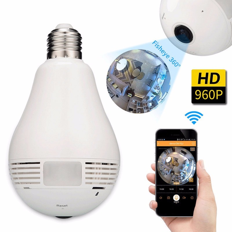 Câmera Ip Segurança Lampada 360° Panorâmica Espia Wifi ...
