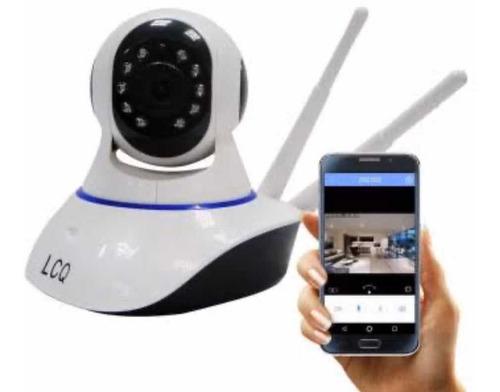 câmera ip sem fio hd 720p 1.3 mp wifi noturna gira 360graus