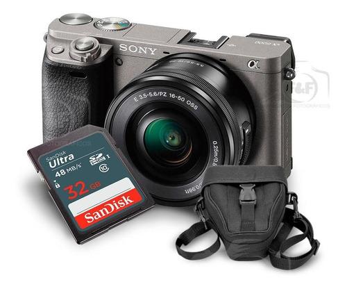 câmera mirrorless sony alpha a6000 kit 16-50mm + sd32gb + ca