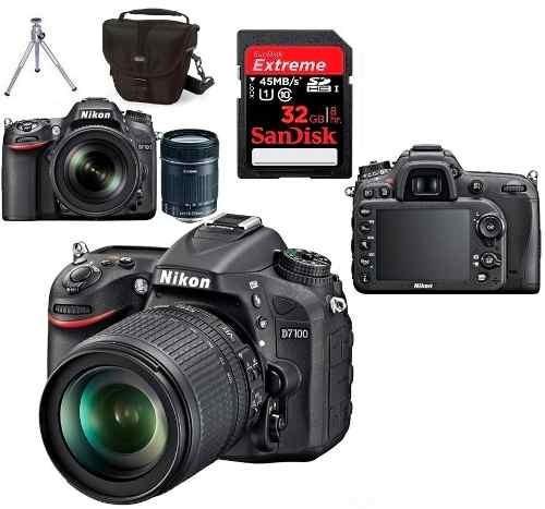 câmera nikon d7100 kit 18-55mm + cartão 32gb + bolsa + tripé