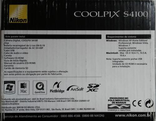 câmera nikon s4100 na caixa com todos os acessórios