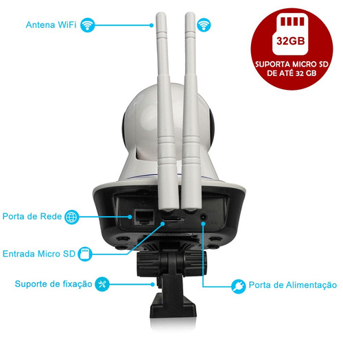 câmera ptz ip 1.3mp 720p hd wireless wifi áudio sd p2p