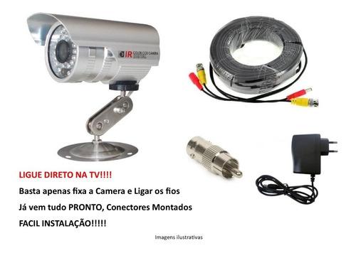câmera segurança - ligue direto na tv kit completo 20 mts. p
