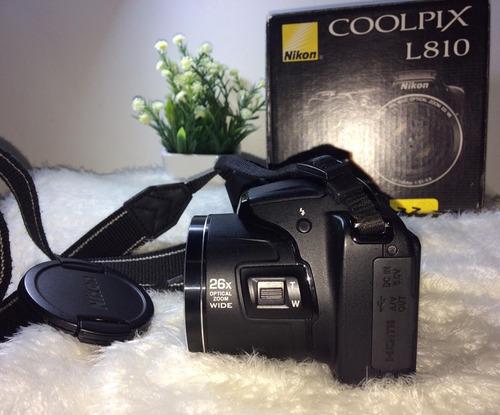 câmera semiprofissional nikon coolpix l810 com acessórios