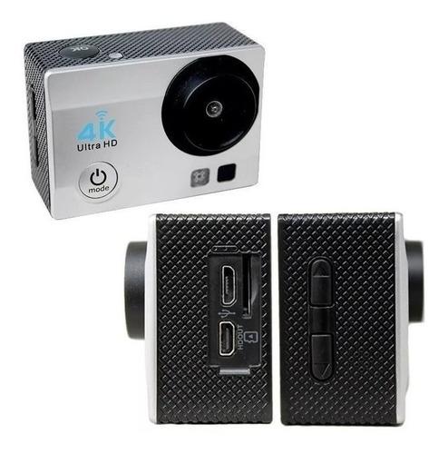 câmera sports cam 4k full hd 1080 wifi preta e prata lcd