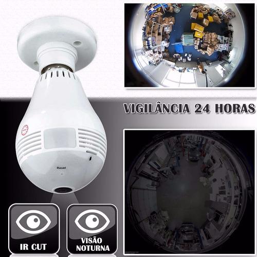 câmera wifi ip hd panorâmica 360º espião celular lâmpada led