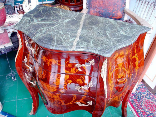 cômoda bombe marchetada 3 gavetas bronze e tampo de mármore