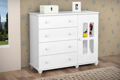 cômoda infantil jolie 4 gavetas branco brilho - ja móveis