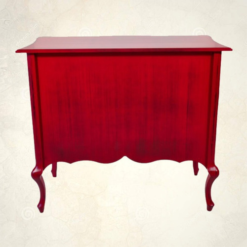 cômoda madeira demolição vermelha 03 gavetas belissima