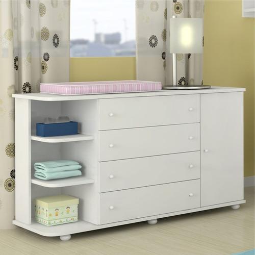 cômoda quarto infantil bebê cantoneira lorena branco phoenix