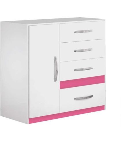 cômoda vn com 4 gavetas porta sapateira  branco / rosa
