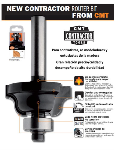cmt 85001 broca router bocallave 3/8x3/16 eje 1/4 carpintero