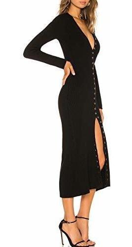 cmz2005 dama boton abajo manga larga sueter vestido