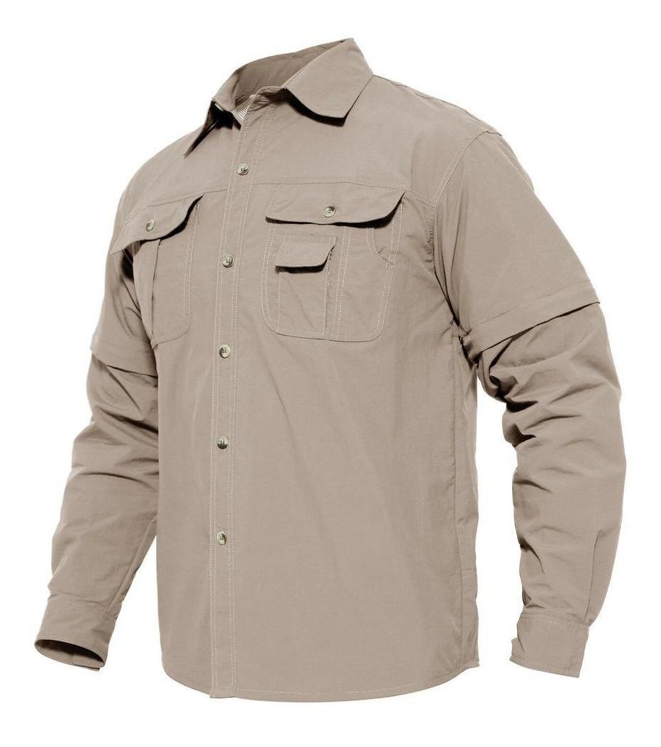 TACVASEN Quick Dry Mens UV Protection Convertible Sleeve Shirt