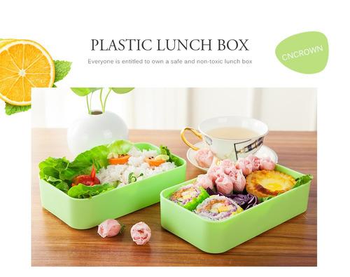cncrown 20116 plástico bento caja de almuerzo 2-layer conte