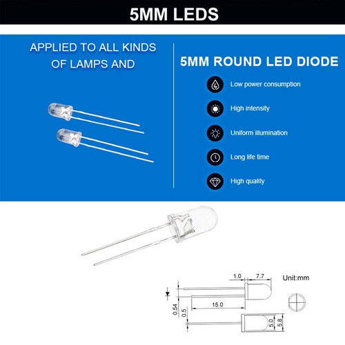 co rode rgb led, 3 mm 5 mm led kit de luz de diodo con color
