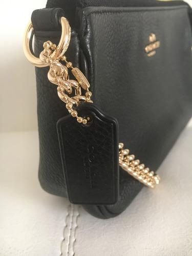 coach cartera cuero negro original nolita con cadena