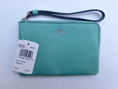 coach monedero f58032 turquesa blue green 100% original