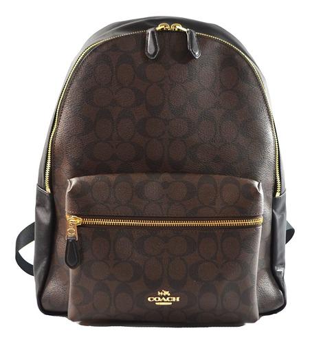 coach pebbled leather mochila f37410 negro (negro marron)