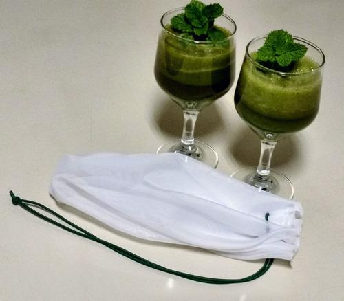coador voal suco verde detox leites vegetais e molhos vegano