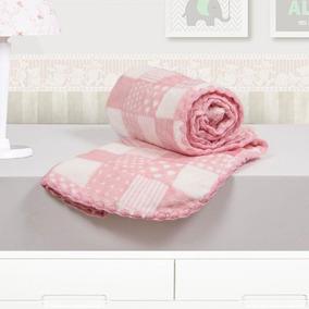 09a1c67ffe2992 Coberto Baby 110 X 90 Microfibra Patchwork Camesa - Rosa