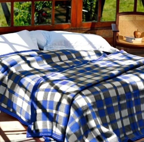 cobertor casal guaratinguetá boa noite 180x220 xadrez azul