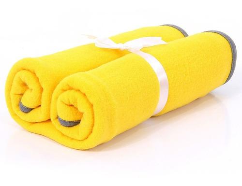 cobertor de soft premium com viez de malha - amarelo