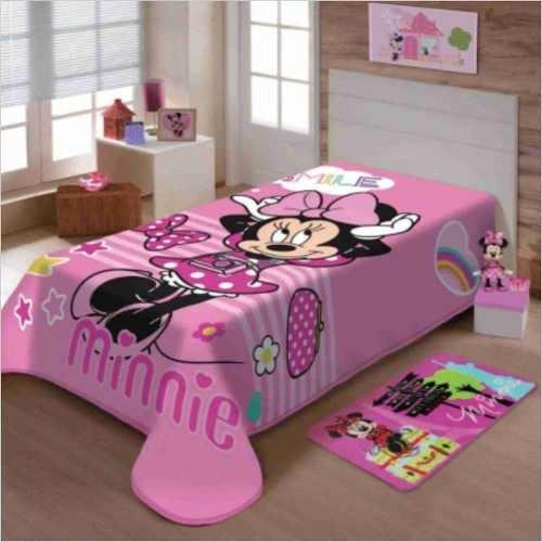 8619106427 Cobertor+ Jogo Cama Lençol Minnie Happy Disney - R  273