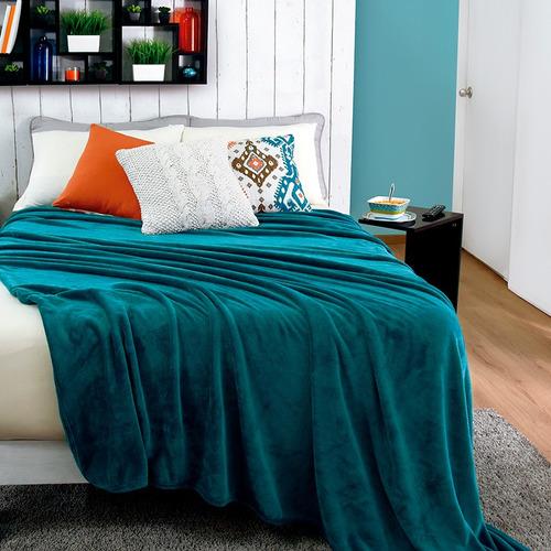 cobertor ligero frazada azul turquesa elegante suave vianney